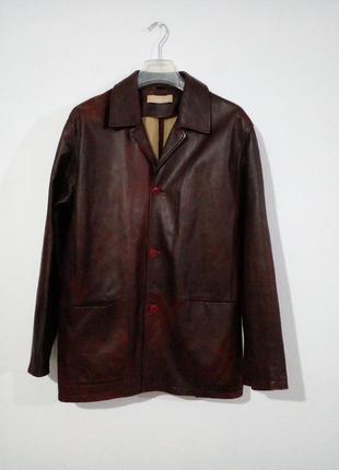 Винтажный кожаный бесподкладочный пиджак куртка  gianni