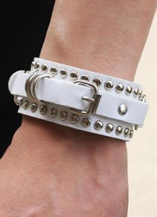 Крутой браслет в стиле рок еко кожа заклепки унисекс