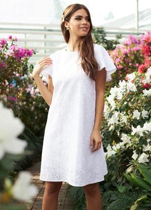 Нежное натуральное белое платье миди мини с коротким рукавом до колен хлопок 100%
