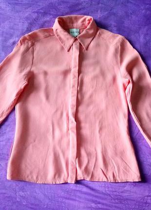 Персиковая, розовая, лососевая вискозная блуза reiss, вискоза