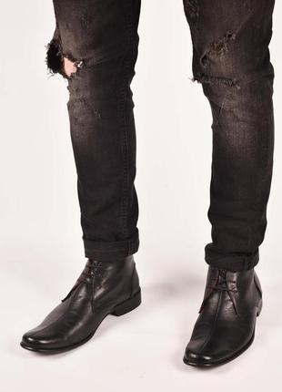Мужские английские чукка туфли полуботинки кожаные черные размер 42.5