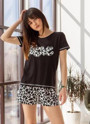 Комплект женский с шортиками - i love черно-белый