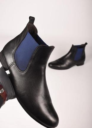 Karl lagerfeld оригинал! мужские туфли челси зимние на меху кожаные черные размер 44