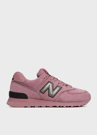New balance женские сиреневые замшевые кроссовки 574