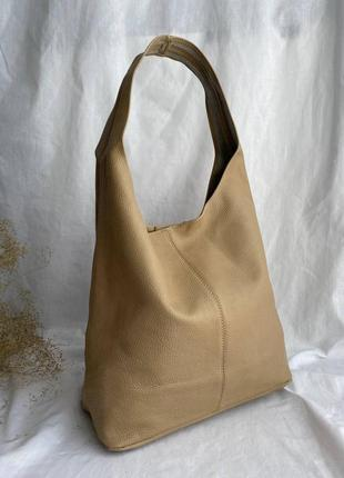 Новинка! сумка шоппер кожаная на длинных ручках производство италия