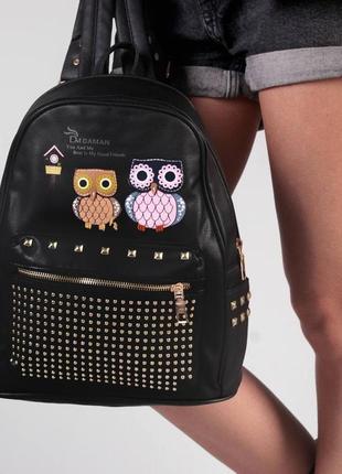 Стильный рюкзак - сумка эко кожа 263928 black