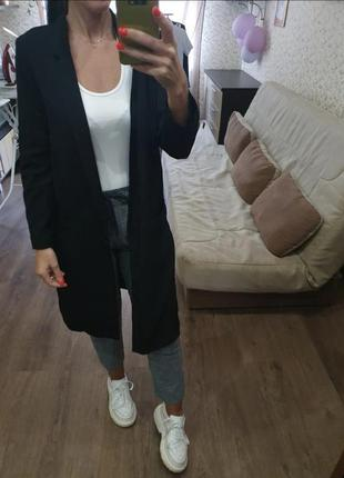 Стильный длинный пиджак блейзер без подкладки размер с