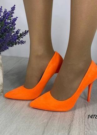 Яркие оранжевые туфли лодочки 👠