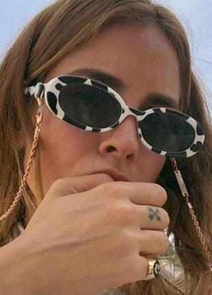 Модные солнцезащитные очки черно-белые узкие ретро очки 7009