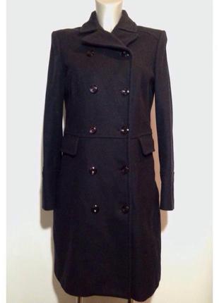 Шерстяное черное пальто на осень/начало зимы шерсть