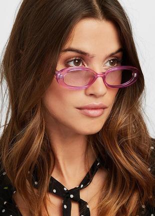 Модные солнцезащитные очки розовые узкие ретро очки 7009