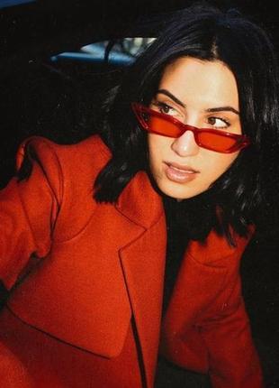 Модные солнцезащитные очки ретро узкие красные очки новые 7014