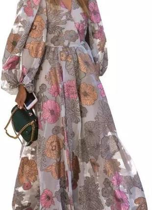Платье с рукавами буфами  на высокий рост