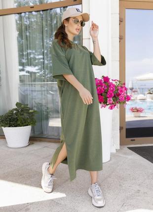 Трикотажное прямое платье цвета хаки с разрезами арт: 12006_хаки