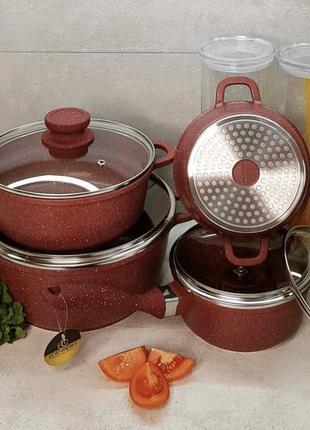 Набор посуды с мраморным покрытием 8 предметов