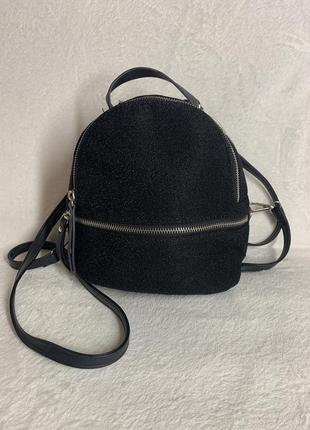 Очень красивый модный рюкзак эко- кожа + текстиль черный. новый.