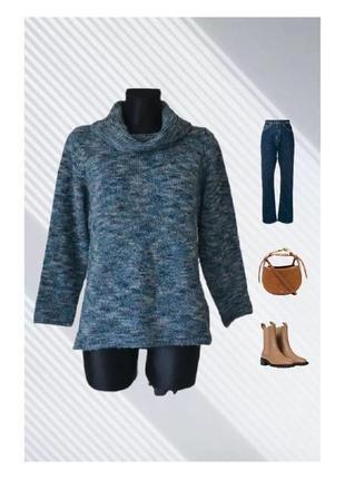 Джемпер полушерстяной свитер светр меланжевый италия р.48