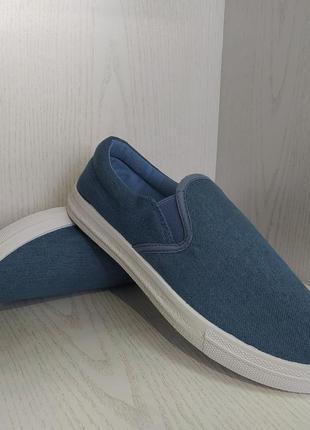 Мокасины,кеды  подростковые джинсовые синие 38р. 40р.1 фото
