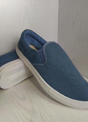 Мокасины,кеды  подростковые джинсовые синие 38р. 40р.6 фото