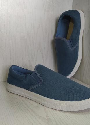 Мокасины,кеды  подростковые джинсовые синие 38р. 40р.2 фото