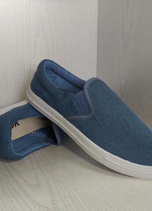Мокасины,кеды  подростковые джинсовые синие 38р. 40р.5 фото