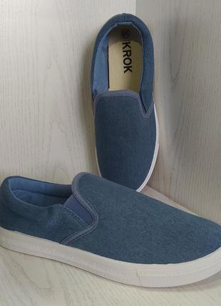 Мокасины,кеды  подростковые джинсовые синие 38р. 40р.4 фото