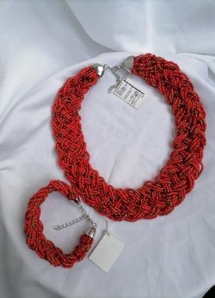 Набор украшений из чешского бисера набір ожерелье колье бусы буси намисто браслет