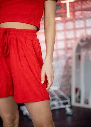 Ефектний красивий костюм двійка в рубчик шорти і топ4 фото