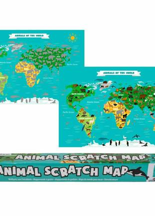 Скретч-карта «animal scratch map» 88x52 см (imp_64)