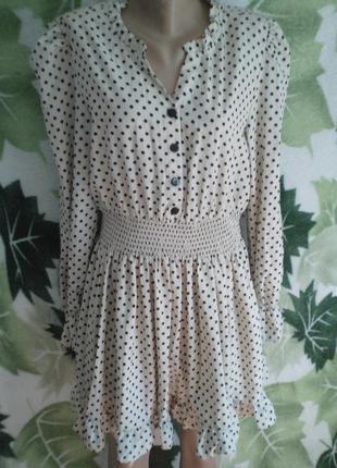 Шикарное стильное платье с длинным рукавом  в мелкий  горошек горох кружочки