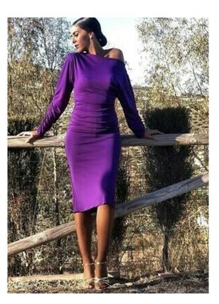 Платье фиолетовое  миди zara размер м стрейчевое