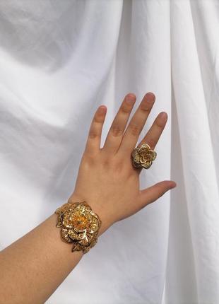 Набор кольцо браслет золотого цвета каблучка перстень роза троянда