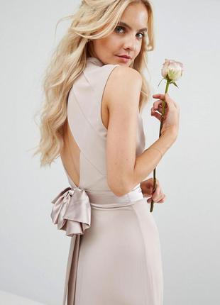 Tfnc бежевое макси-платье бант открытая спинка нюдовго цвета