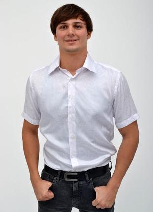 Нарядная белая рубашка с коротким рукавом- xs s m