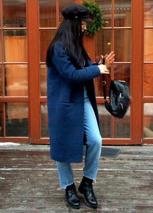 Зимнее пальто оверсайз из натуральной шерсти