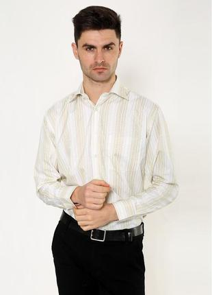 Классическая рубашка песочно- белого цвета полоска -xs s m l xl xxxl