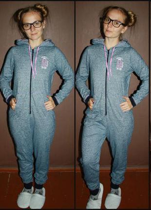 Теплое трикотажное кигуруми комбинизон слип пижама №69