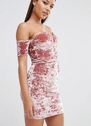 Шикарное вечернее велюровое платье с открытыми плечами