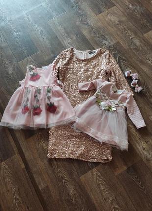 Фэмели лук нарядное платье для мамы и дочки  на годик и праздники
