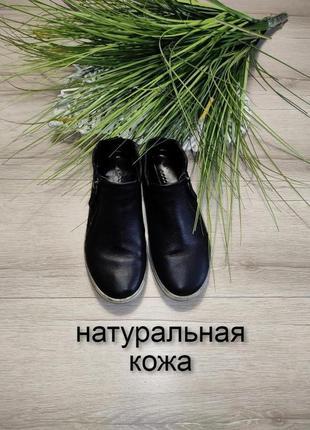Кожаные демисезонные полуботинки высокие туфли ecco p 35