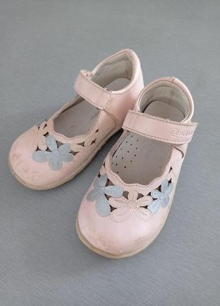 Туфельки с ремешком на липучке antilopa кожа
