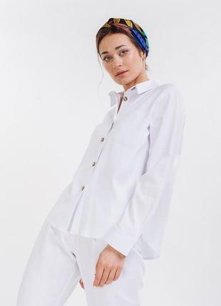 Льняная рубашка с длинными рукавами
