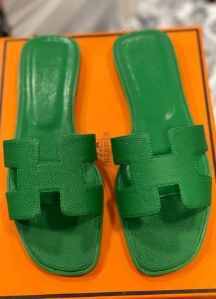 Шлепанцы женские кожаные зелёные брендовые