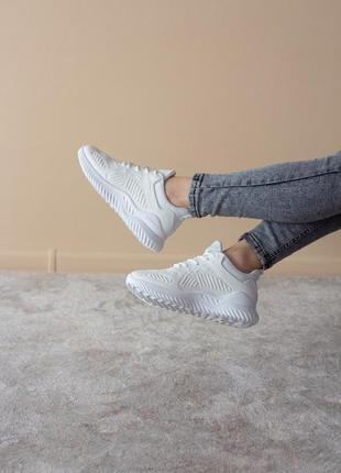 Стильные трендовые кроссовки из эко-кожи весна весенние белые