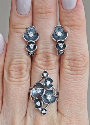 Серебряный набор сакура кольцо 18 скидка 10%