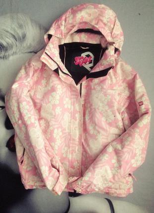 Розовая в цветы лыжная термо куртка