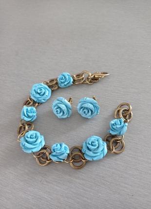 Комплет украшений браслет и серьги с цветами розочками серебро