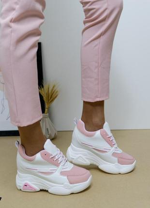 Сникерсы кожаные белые, кроссовки на танкетке, кроссовки кожаные на платформе