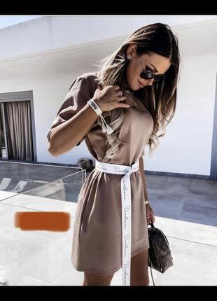 Платье футболка с поясом