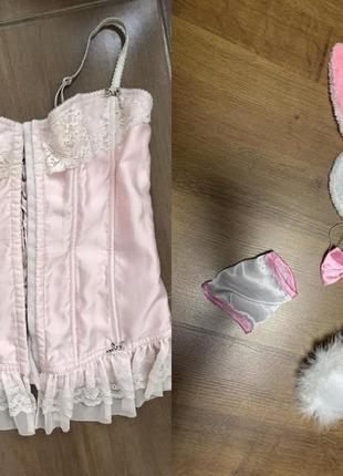 Зайчик плейбой набор костюм обруч хвостик бабочка корсет